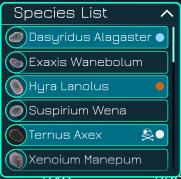 species list